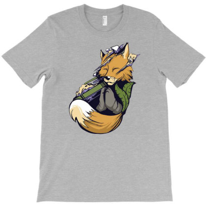 Meditating Fox Yoga T-shirt Designed By Jameszestrada