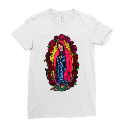 Guadalupe Blessed Virgin Mary T-shirt Ladies Fitted T-shirt Designed By Apollo