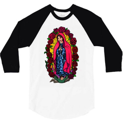 Guadalupe Blessed Virgin Mary T-shirt 3/4 Sleeve Shirt Designed By Apollo