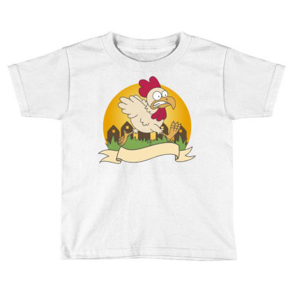 Chicken Food Logo Business Vector Orange Vilage Grass Chicken Running Toddler T-shirt Designed By Maadart