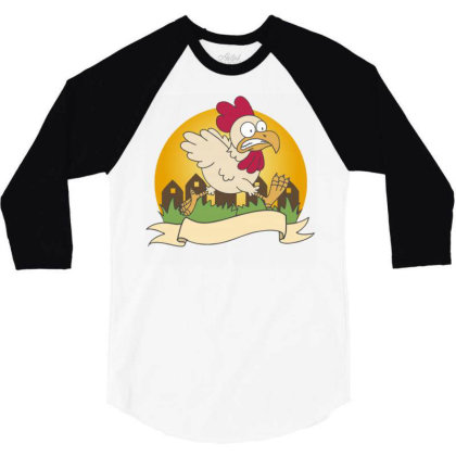 Chicken Food Logo Business Vector Orange Vilage Grass Chicken Running 3/4 Sleeve Shirt Designed By Maadart