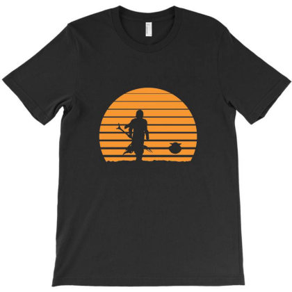 Mandalorian Baby Yoda Sunset T-shirt Designed By Krepsd