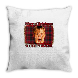Merry Christmas You Filthy Animal Throw Pillow Designed By Bettercallsaul