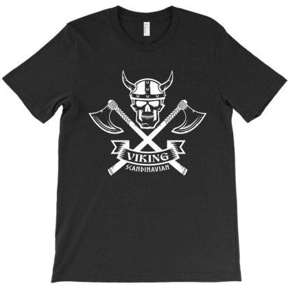 Viking, Scandinavian, Skull T-shirt Designed By Estore