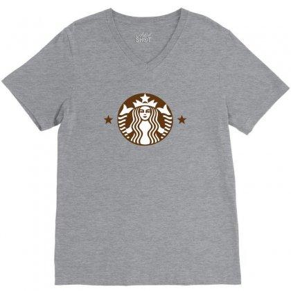 Starbucks V-neck Tee Designed By Sabriacar