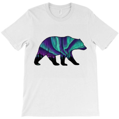 Brown Bear Silhouette - Northern Lights T-shirt Designed By Kerryhompson