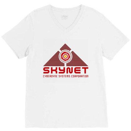 Skynet Corporation V-neck Tee Designed By Leona Art