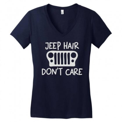 Jeep Hair Don't Care Women's V-neck T-shirt Designed By Mdk Art