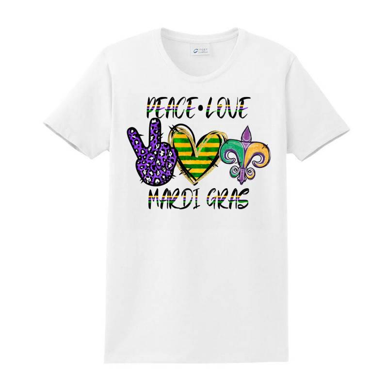 Peace Love Mardi Gras Ladies Classic T-shirt | Artistshot
