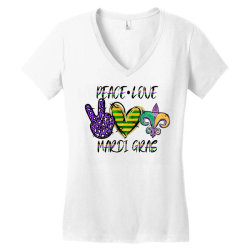 peace love mardi gras Women's V-Neck T-Shirt | Artistshot