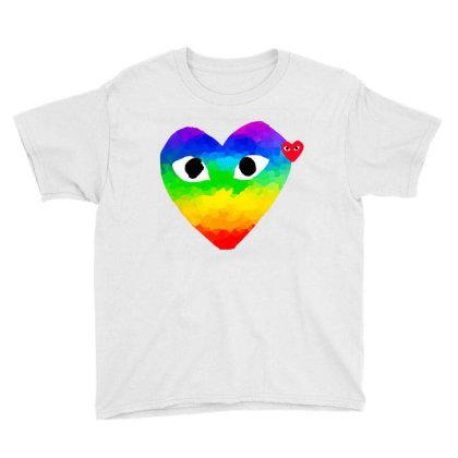 Comme Des Garçons Rainbow Heart Youth Tee