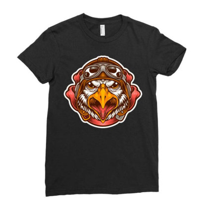 Pilot Eagle Ladies Fitted T-shirt Designed By Maadart
