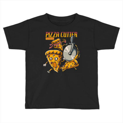 Pizza Slice Cartoon Chased By Pizza Cutter Wheel Toddler T-shirt Designed By Maadart
