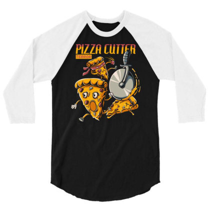 Pizza Slice Cartoon Chased By Pizza Cutter Wheel 3/4 Sleeve Shirt Designed By Maadart