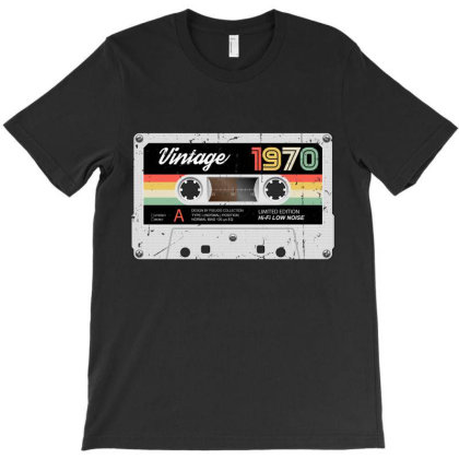 Vintage Retro 1970 Audiotape Birthday T-shirt Designed By Pseudocollection