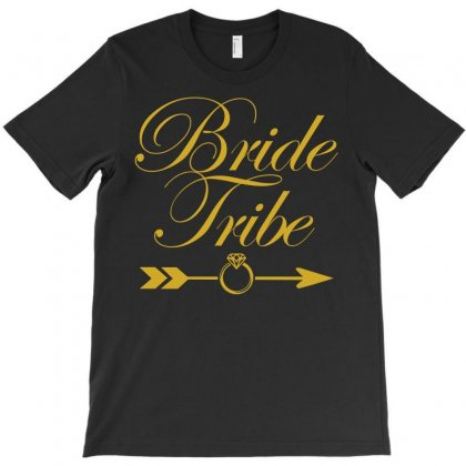 Bride Tribe Metallic Gold Print T-shirt Designed By Gringo