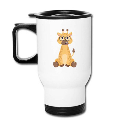 Giraffe With Glasses Travel Mug Designed By Yahia1