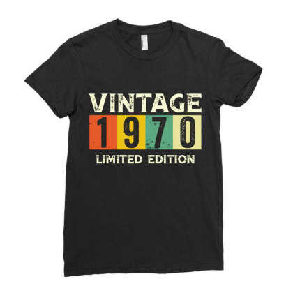 Gift 50th Birthday 1970 Limited Edition Vintage Ladies Fitted T-shirt Designed By Suettan
