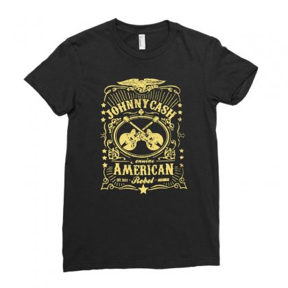 Johnny Cash American Rebel Ladies Fitted T-shirt Designed By Hezz Art