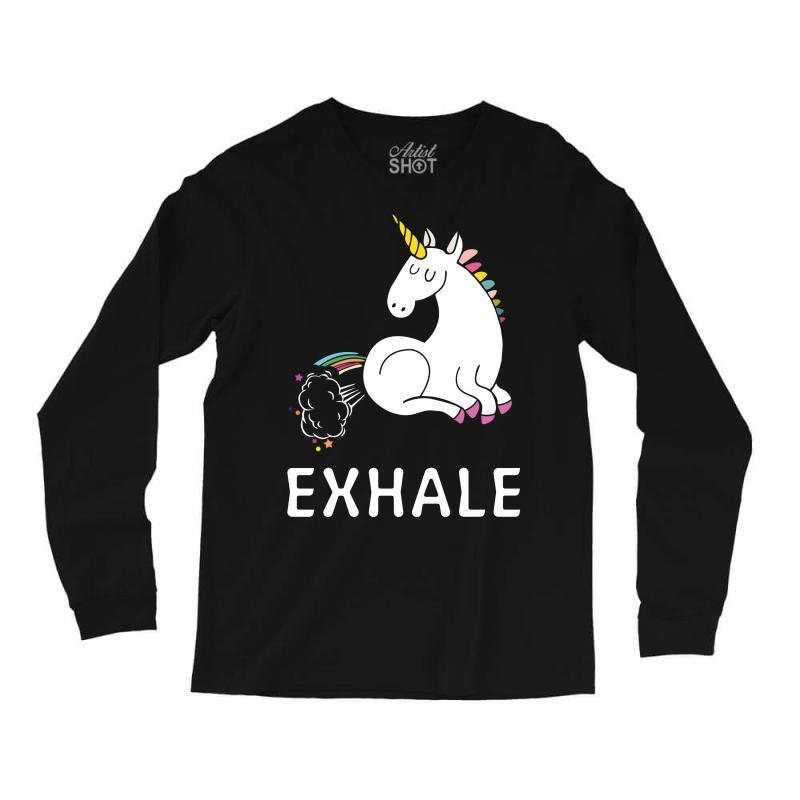 Exhale Unicorn Long Sleeve Shirts | Artistshot
