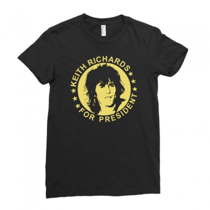 Keith Richards For President Ladies Fitted T-shirt Designed By Hezz Art
