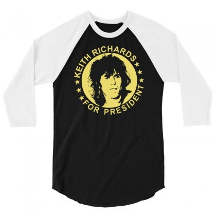 Keith Richards For President 3/4 Sleeve Shirt Designed By Hezz Art