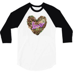 love camouflage heart 3/4 Sleeve Shirt | Artistshot