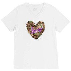 love camouflage heart V-Neck Tee | Artistshot
