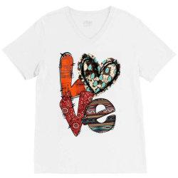 love cowhide heart V-Neck Tee | Artistshot