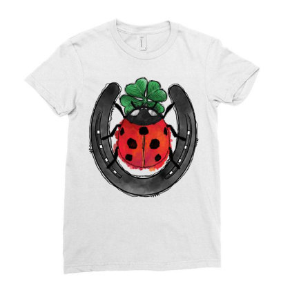 Ladybird And Horseshoe Ladies Fitted T-shirt Designed By Badaudesign