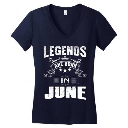 Legends Are Born In June Women's V-neck T-shirt Designed By Kasemdesign