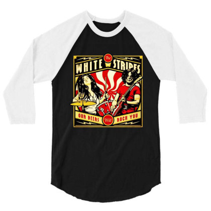 White The Strip 3/4 Sleeve Shirt Designed By Kevin Design