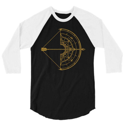 Bow And Arrow Compass 3/4 Sleeve Shirt Designed By Randlros