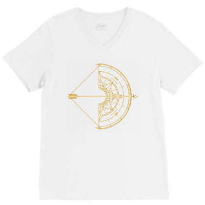 Bow And Arrow Compass V-neck Tee Designed By Randlros