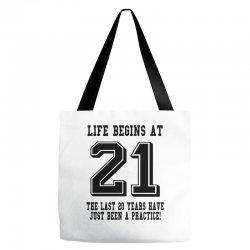 21st birthday life begins at 21 Tote Bags | Artistshot