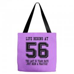 56th birthday life begins at 56 Tote Bags | Artistshot