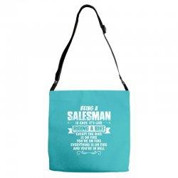 being a salesman Adjustable Strap Totes | Artistshot