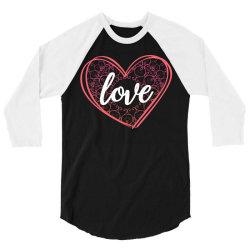 valentine's day mandala heart 3/4 Sleeve Shirt   Artistshot