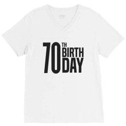 70th Birthday V-Neck Tee   Artistshot