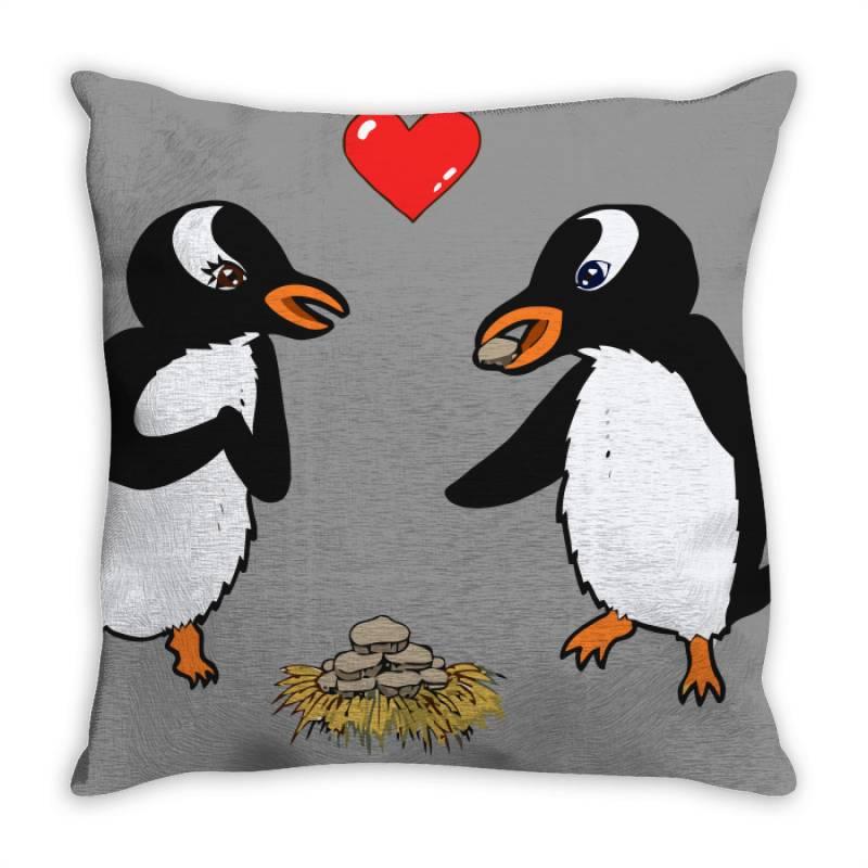 Chibi Penguin Love Throw Pillow | Artistshot