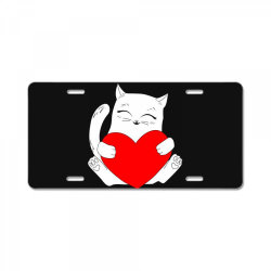 cat holding heart valentine License Plate | Artistshot