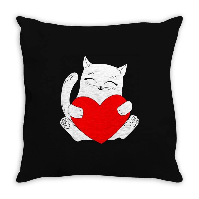 Cat Holding Heart Valentine Throw Pillow | Artistshot