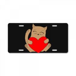 coklat cat holding heart License Plate   Artistshot