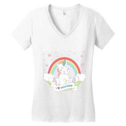 Unicorn cute cartoon art Women's V-Neck T-Shirt   Artistshot