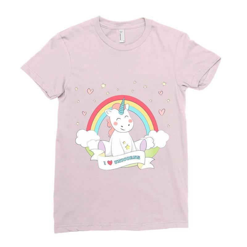 Unicorn Cute Cartoon Art Ladies Fitted T-shirt   Artistshot