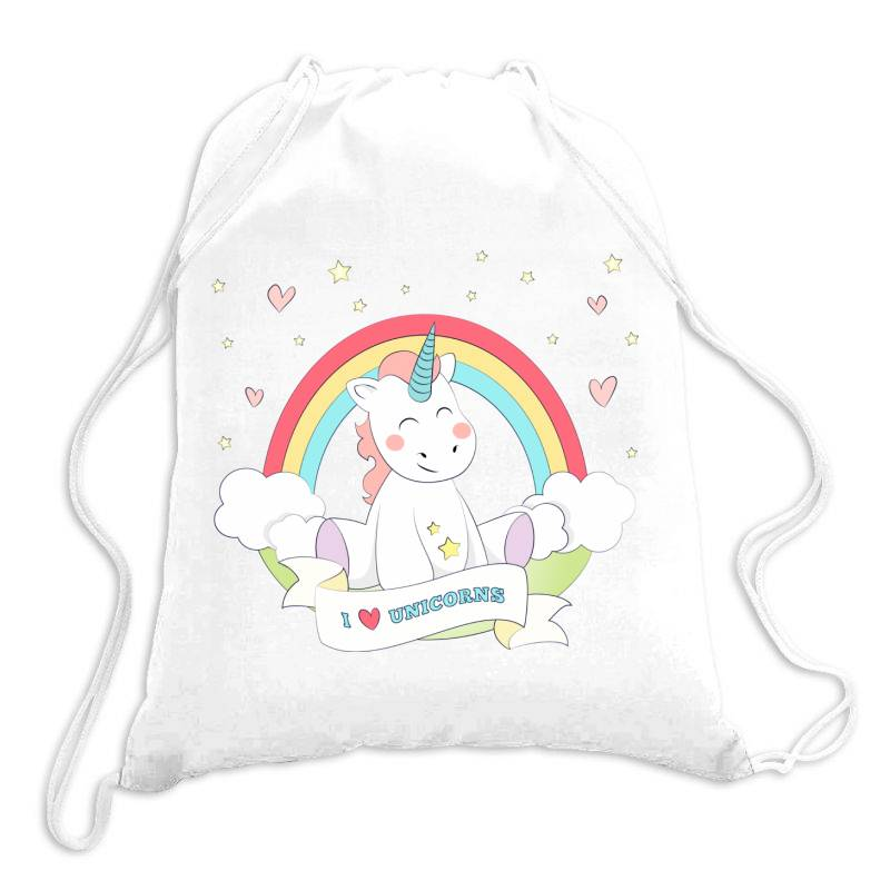 Unicorn Cute Cartoon Art Drawstring Bags   Artistshot