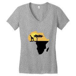 AFRICA GIRAFFE SUNSET Women's V-Neck T-Shirt | Artistshot