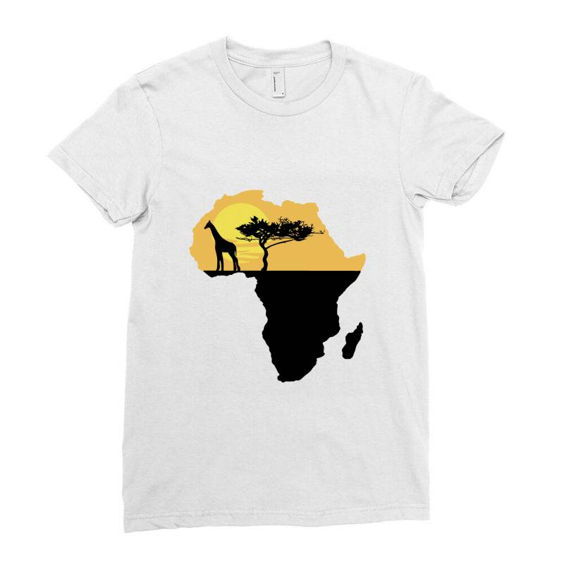 Africa Giraffe Sunset Ladies Fitted T-shirt | Artistshot