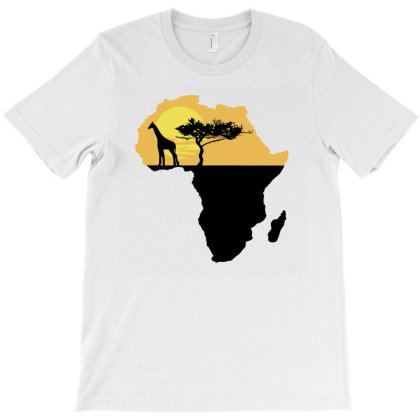 Africa Giraffe Sunset T-shirt Designed By Cloudystars