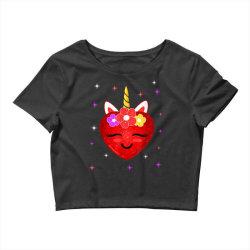 hot girl shirt cute unicorn heart valentines day girls kids t shirt Crop Top | Artistshot